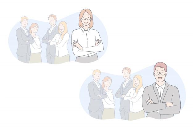Equipe, líder, conceito definido de coworking