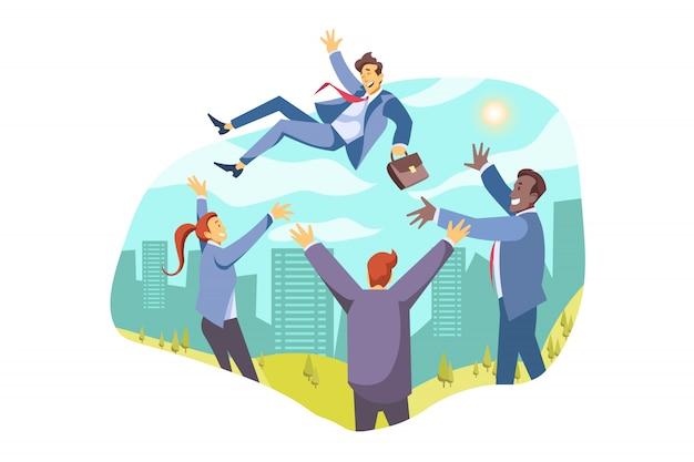Equipe, liderança, vitória, conquista, sucesso, conceito de felicitações de negócios