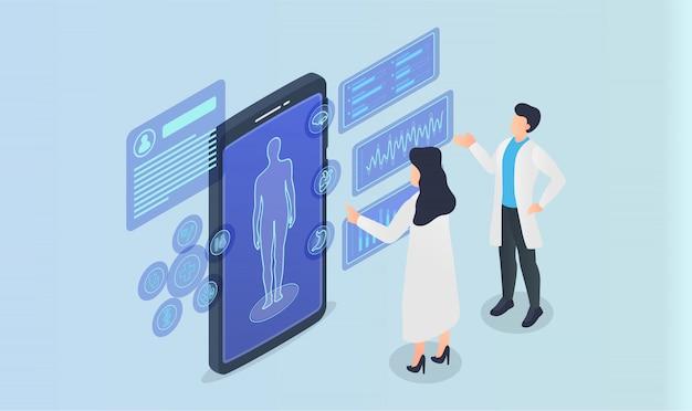 Equipe médica analisar o registro humano médico do paciente em aplicativos de smartphone com estilo isométrico
