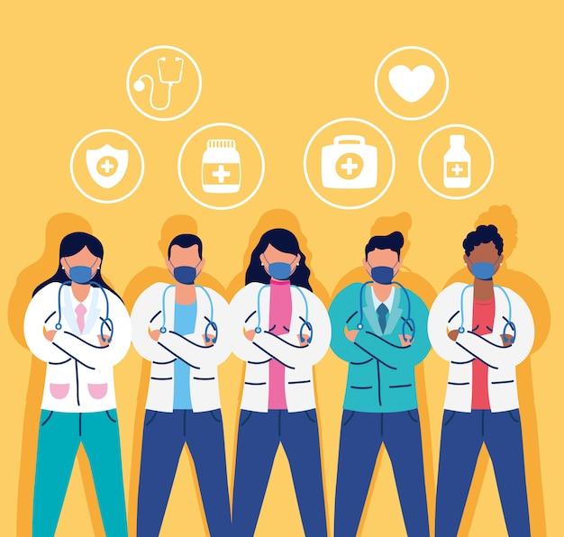 Equipe médica com máscaras faciais e conjunto de ícones
