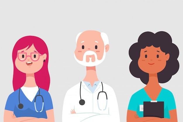 Equipe médica com médico, enfermeiro e estagiário