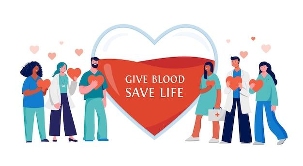 Equipe médica de doação de sangue