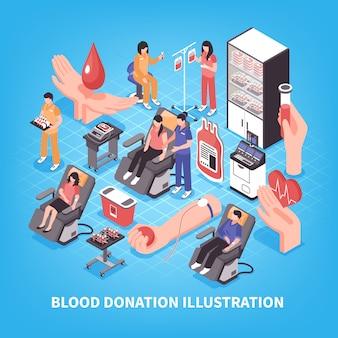 Equipe médica e equipamentos de banco de sangue e doação na ilustração isométrica azul