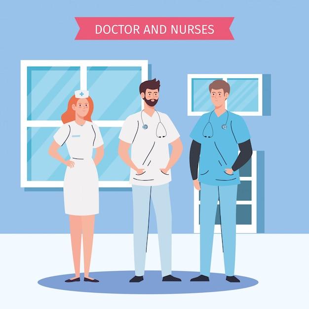 Equipe médica e funcionários, médicos com design ilustração de enfermeira