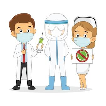 Equipe médica e médico do coronavírus