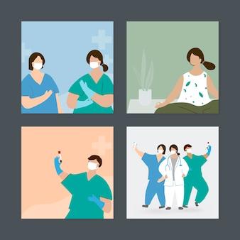 Equipe médica e uma mulher durante conjunto de vetores de elemento pandêmico de coronavírus