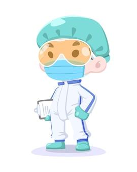 Equipe médica em estilo bonito dos desenhos animados com traje de proteção e máscara segurando a ilustração da prancheta