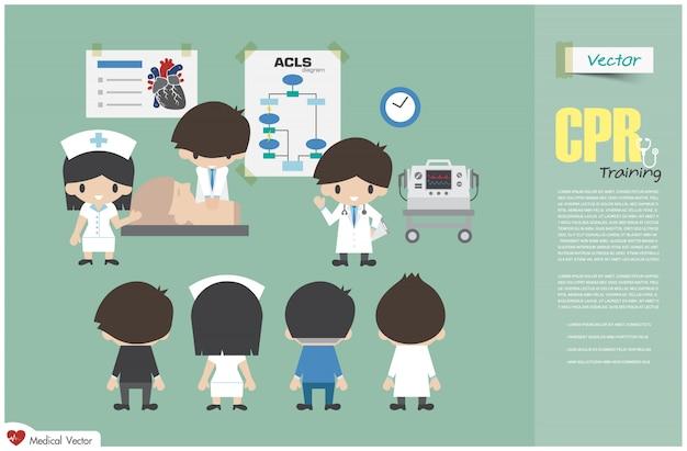 Equipe médica está ensinando sobre ressuscitação cardiopulmonar no hospital