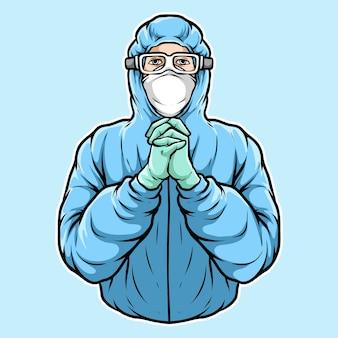 Equipe médica implorando pose