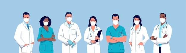 Equipe médica médicos e enfermeiras usando uma máscara cirúrgica facial conjunto de personagens médicos masculinos e femininos