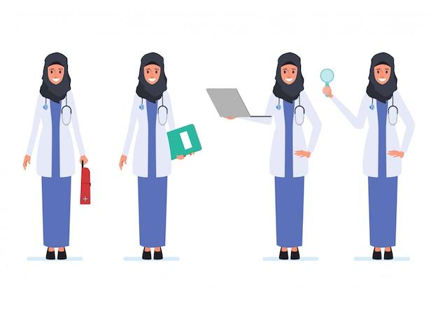 Equipe médica muçulmana ou árabe médico personagem.