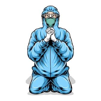 Equipe médica orando ilustração