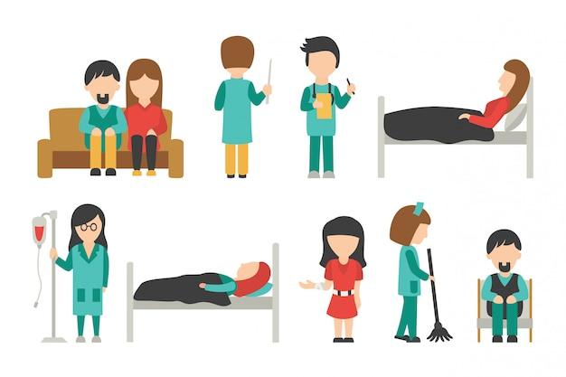 Equipe médica plana, isolada no fundo branco, médico, enfermeira, cuidados, pessoas vector illus