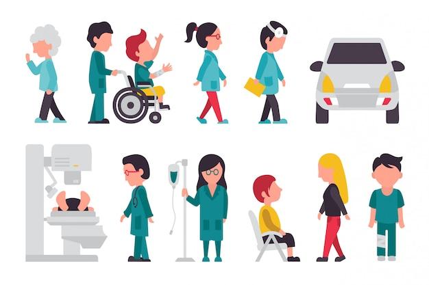 Equipe médica plana
