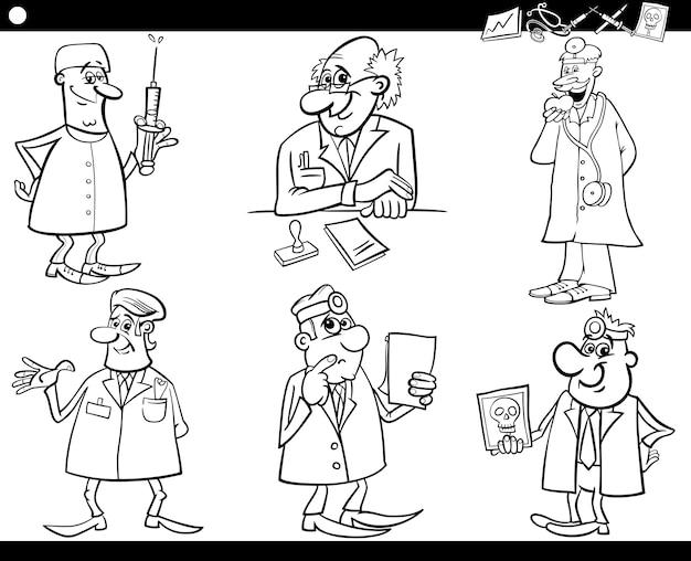 Equipe Medica Preparada Para Colorir Livro Vetor Premium