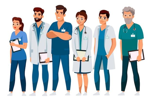 Equipe médica profissional sorridente e amigável