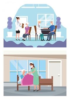 Equipe médica protegendo personagens idosos