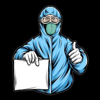 Equipe médica segurando papel em branco