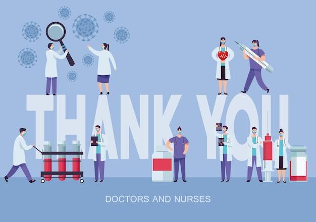 Equipe médica usando máscara com ilustração de letras de agradecimento