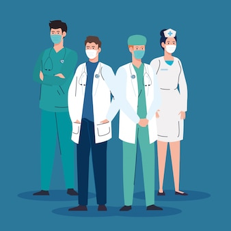 Equipe médica usando máscara médica contra pandemia