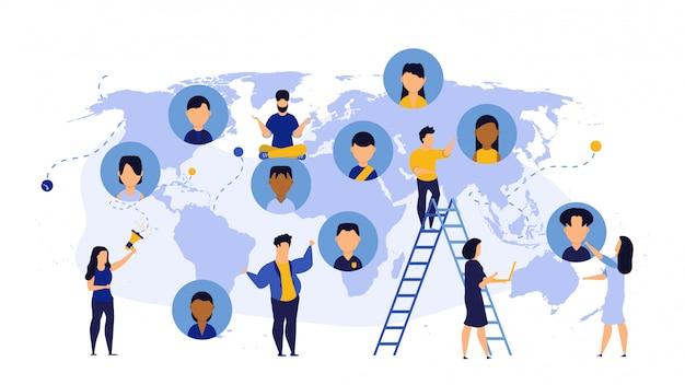 Equipe mundial de consultoria de tecnologia global de mapa de terra de negócios.