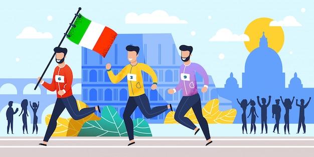 Equipe nacional de corredores de maratona na itália dos desenhos animados