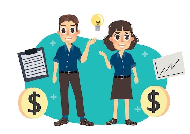 Equipe negócio, com, dinheiro