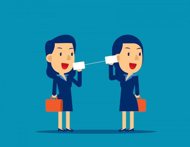 Equipe negócio, comunicar, através, latas estanho