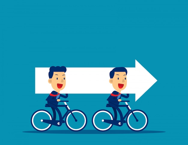 Equipe negócio, montando, bicicletas, e, carregar, seta
