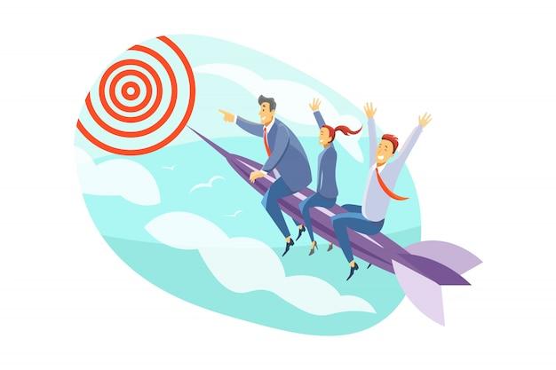 Equipe, objetivo, motivação, inicialização, liderança, conceito do negócio