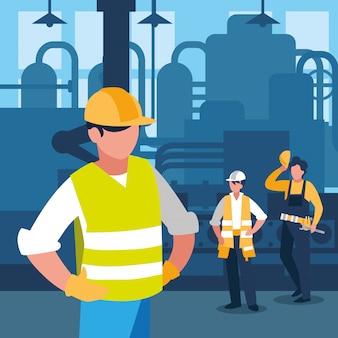 Equipe pessoas de trabalho em cena de fábrica