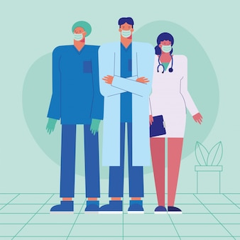 Equipe profissional de médicos usando máscaras médicas