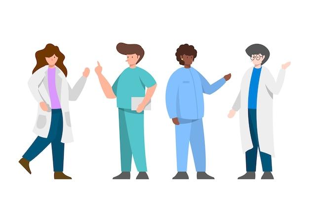 Equipe profissional de saúde acenando