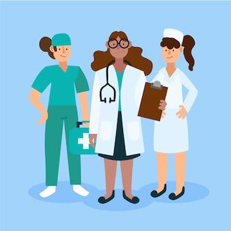 Equipe profissional de saúde composta por mulheres