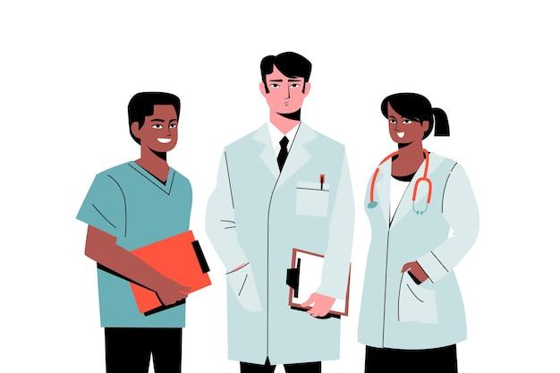 Equipe profissional de saúde de médicos