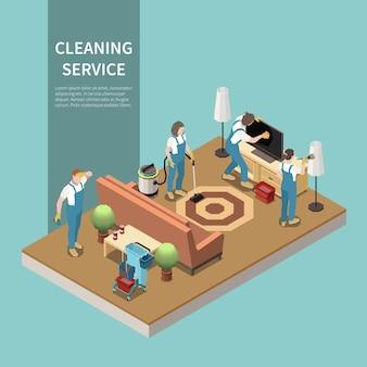 Equipe profissional de serviço de limpeza doméstica no trabalho, aspirando o pó do carpete, tirando o pó da tela da tv lcd, composição isométrica