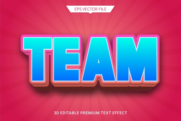 Equipe red 3d texto editável estilo efeito vetor premium