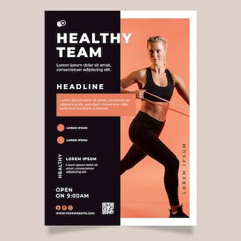 Equipe saudável de design de folheto esporte