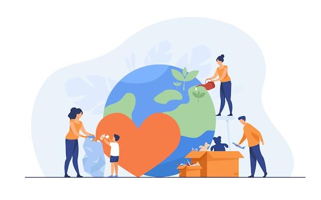 Equipe social ajudando a caridade e compartilhando a esperança
