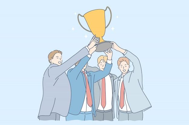 Equipe, sucesso, vitória, celebração, realização de objetivos, conceito do negócio.