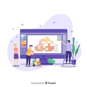 Equipe trabalhando em design gráfico