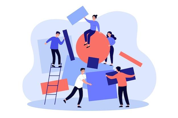 Equipe trabalhando juntos na ideia abstrata. pessoas carregando temas de diferentes formas e montando quebra-cabeças geométricos