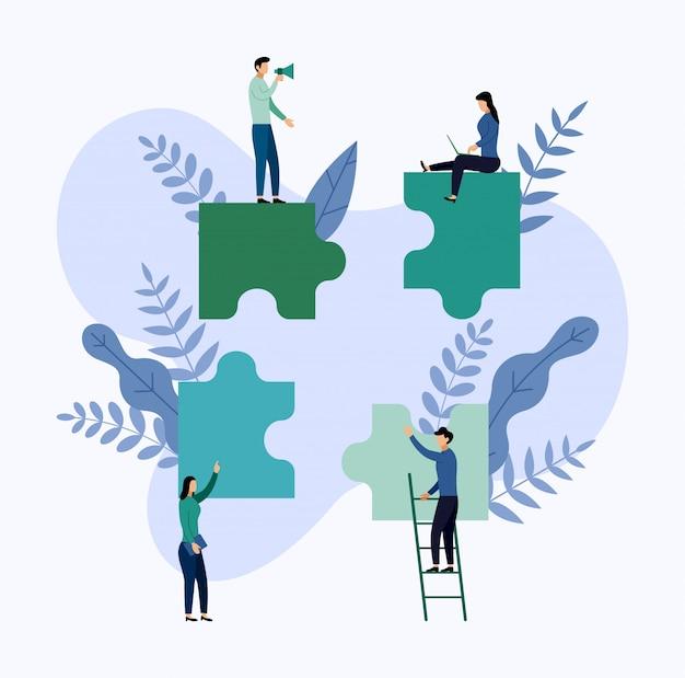 Equipe trabalhando, pessoas conectando elementos de quebra-cabeça