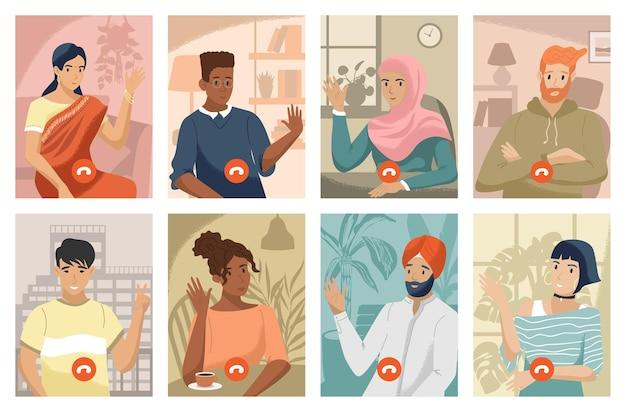 Equipe trabalhando por projeto de ilustração de videochamada em grupo