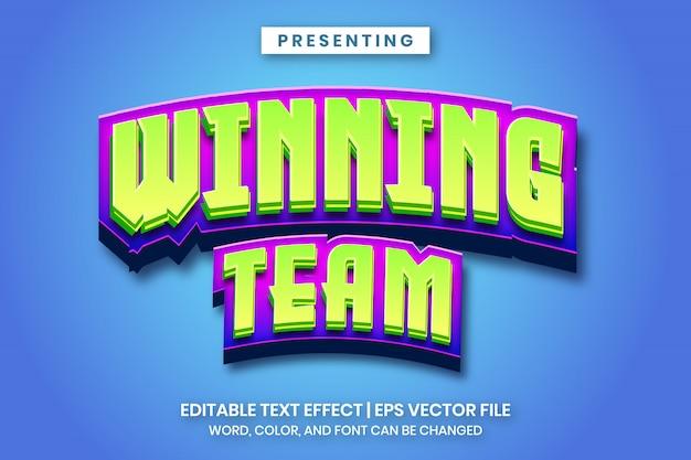 Equipe vencedora - texto editável do estilo de logotipo de jogo dos desenhos animados