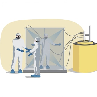 Equipes médicas estão alinhadas para esterilizar seu corpo
