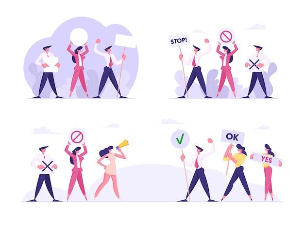 Equipes opostas de executivos ou políticos com faixas e placas ficam cara a cara em greve