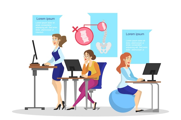 Ergonomia do conceito de local de trabalho. postura corporal para as costas