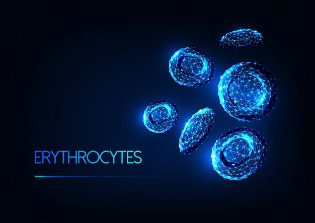 Eritrócitos de glóbulos vermelhos poligonais brilhantes e futuristas