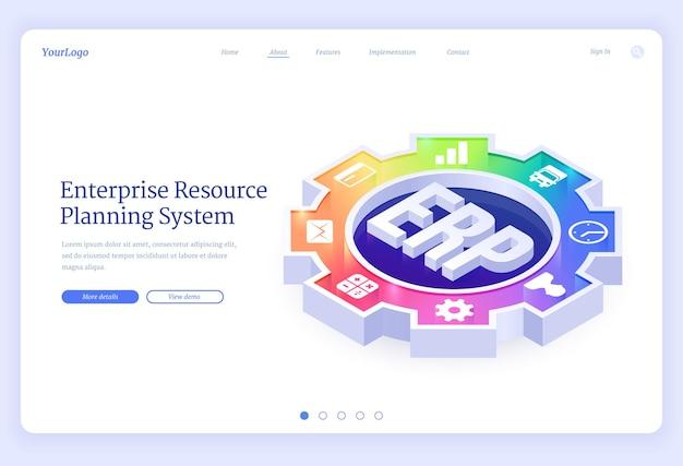 Erp, página de destino isométrica de planejamento de recursos empresariais.